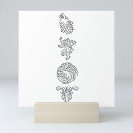 Wolf Lion Dragon & Squid Sigil Illustration Mini Art Print