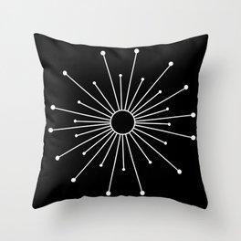 Mid Century Modern Simple Sputnik Starburst Black/White Throw Pillow