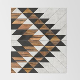 Urban Tribal Pattern 9 - Aztec - Concrete and Wood Throw Blanket
