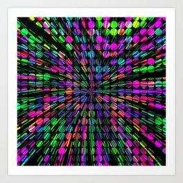 geometric circle abstract pattern in pink blue green black Art Print