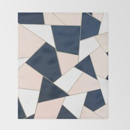 Navy Blue Blush White Gold Geometric Glam #1 #geo #decor #art #society6 Throw Blanket