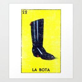 La Bota Mexican Loteria Bingo Card Art Print