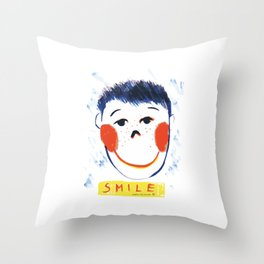 Face smile drawing Throw Pillow