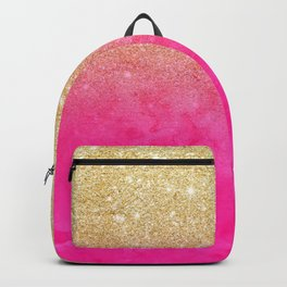 Modern girly gold glitter ombre fade neon pink watercolor Backpack