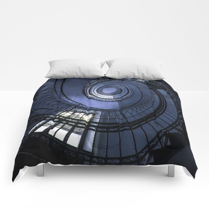 Blue spiral staircase Comforters