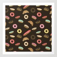 donuts Art Prints featuring Donuts by Julia Badeeva