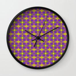 Bright Purple Yellow Swirl Pattern Wall Clock