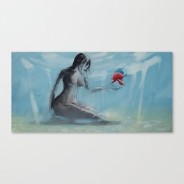 Nymph 2 - Nude woman sitting on sea floor - Red fish Canvas Print