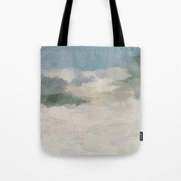 Modern Abstract Painting, Teal Blue, Sage Green, Beige Yellow Sandy Digital Prints Wall Art, Ocean Tote Bag
