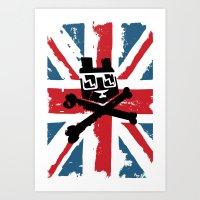 Bear Picnic Union Jack Art Print