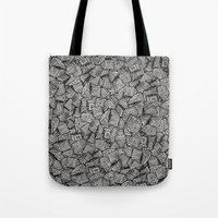decal Tote Bags featuring Chaos!! by Alejandro Ayala