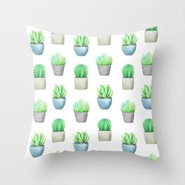 Succulent and Cactus Garden Pots Pattern Throw Pillow