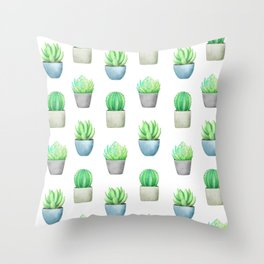 Succulent and Cactus Garden Pots Pattern Throw Pillow