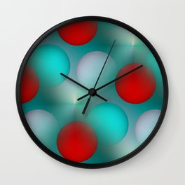 red and turquoise balls Wall Clock