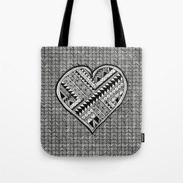 Modern, black and white, geometric shaped heart Tote Bag