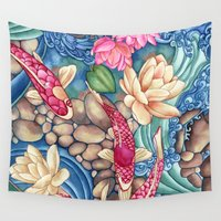 karen hallion Wall Tapestries featuring Koi Pond by Vikki Salmela
