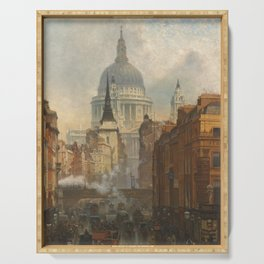 London skyline, Vintage view of St Paul's Cathedral Victorian era Serving Tray