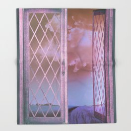 Lavender Fields in Window Shabby Chic original art Throw Blanket