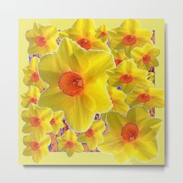 YELLOW-GOLD DAFFODILS FLOWER COLLAGE Metal Print