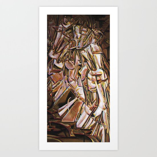Study after Duchamp's Nude Descending a Staircase Art Print