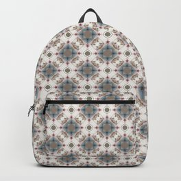 Brown and Blue Geometric - Squares and Circles Backpack