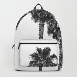 Dos Palmeras // Tropical Black and White Palm Tree Photography California Nature Ocean Vibes Backpack