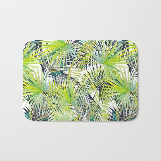 Tropical Frond Pattern Bath Mat