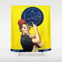 feminism Shower Curtains featuring Whovian feminism by ElinJ
