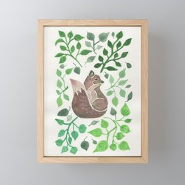 There is a fox in the forest painting Framed Mini Art Print