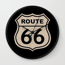 Route 66 sign illustration Wall Clock