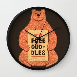 Cute Bear Free Cuddles Orange Wall Clock