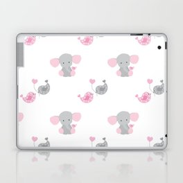Pink Elephant Chickadee Bird Heart Laptop & iPad Skin