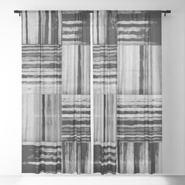 black and white pattern squares Sheer Curtain