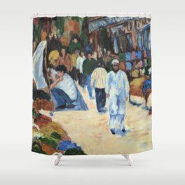 Indian Clothes Bazaar - Oil on Painting Shower Curtain