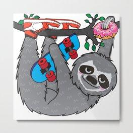 Skater Sloth and the donuts rain Metal Print