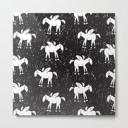 Pegasus Block Print Metal Print