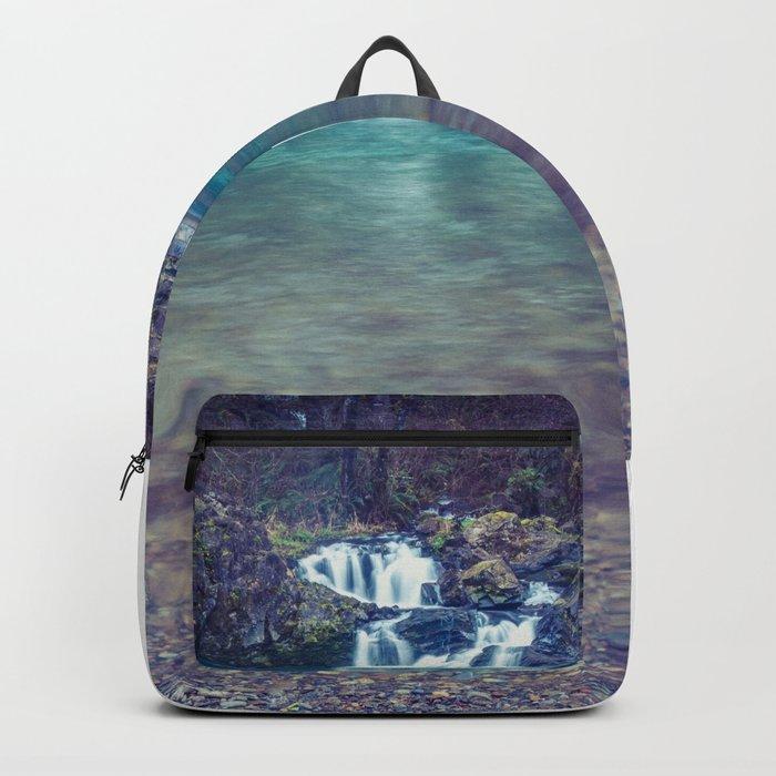 Teal Blue Waterfall Cove Backpack