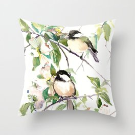 Chickadees and Dogwood Flowers Throw Pillow