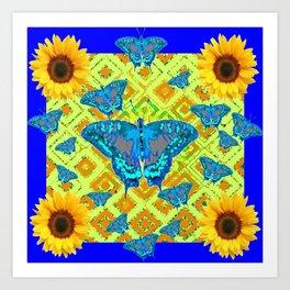 Blue Moths Sunflowers Lime Green Spring Art Art Print