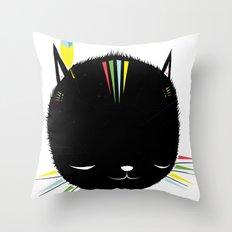 MIGHTY TIGARRR, BLACK KITTEN 묘 Throw Pillow