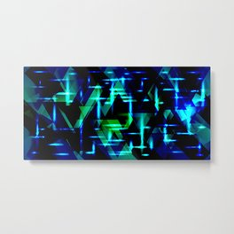 Green and blue highlights on an ultramarine blue metal background. Metal Print
