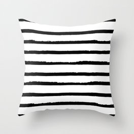 Hand Drawn Ink Horizontal Lines – Black and White Throw Pillow