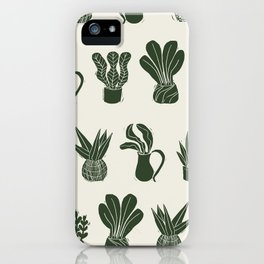 Green on Ivory houseplant linocut pattern  iPhone Case