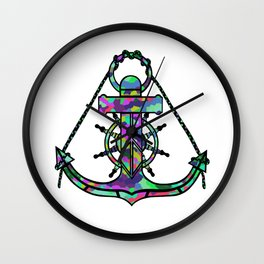 Anchor and Steering Helm [MultiColor] Wall Clock