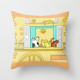 Kitty-Kat Chateau Throw Pillow