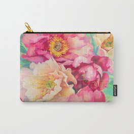 Lovely beautiful Watercolor acrylic pastel Peony flowers floral wall art Carry-All Pouch