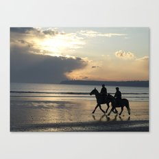 Riders at Sunset - Tramore Beach Canvas Print