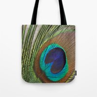 peacock feather Tote Bags featuring Peacock Feather by aquenne