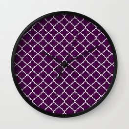 Dark Purple Moroccan Pattern Wall Clock