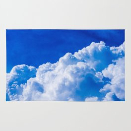 White clouds in the blue sky Rug